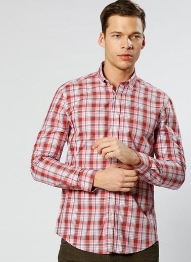 Cotton Bar Kareli Uzun Kollu Gömlek Kırmızı